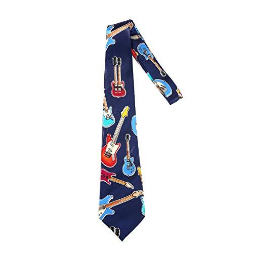 SeniorMar Cravatta da uomo in seta Accessori per strumenti musicali Regalo di musica Modello di chitarra Cravatta di musica inglese Cravatte