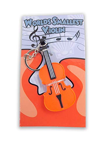 MunnyGrubbers - World's Smallest Violin Keychain Playable with Music - Mini Tiny Violin - Press The Button to Play a Sad Song - Boohoo, Send Your Friend Your Condolences with This Funny Meme Toy