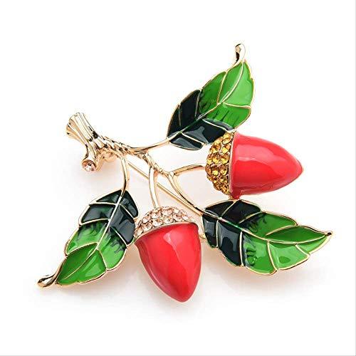 XZFCBH Roter Pfeffer Baum Emaille Broschen für Frauen Strass Blumen Hochzeiten Brosche Pins Mamas Geschenke