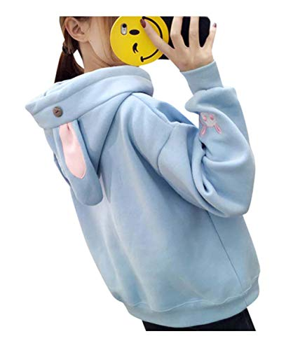 Cosplay Anime Bunny Emo Girls Sweater Hoodie Ears Costume Panda Cat Emo Bear Jacket T Shirt Top Shirt (Blue Bunny)