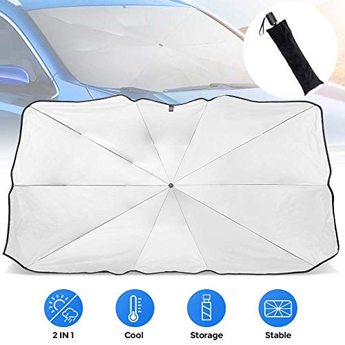 JoyTutus Sedan SUV Car Windshield Umbrella Without Safety Hammer, Keep Your Car Cool Car Sun Umbrella, Foldable Car Sun Shade for Front Windshield Umbrella, Easy to Store and Use,56''x 31''