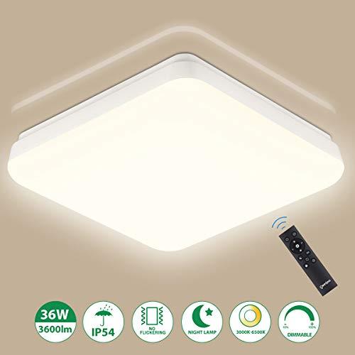 LED Deckenleuchte Dimmbar, 36W 3600lm LED Deckenlampe Dimmbar Mit Fernbedienung, Oeegoo IP54 Wasserfest LED Lampe Für Badezimmer, Wohnzimmer, Schlafzimmer, Kinderzimmer, Küchen, Essenzimmer Usw.