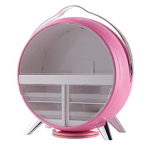 Grande Capacité Cosmétique Organisateur, LED Lighted Net Miroir Cosmétique, Créatif Coiffeuse Poussière Étagère,Rose