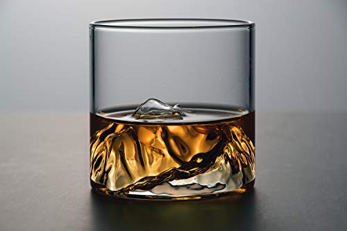 Mountain Whiskey Glass,Set of 2 Rocks Glasses in Gift Box,Old Fashioned Glass for Drinking Bourbon,Scotch,Cocktails or Tea,Whisky Gift Set for Men and Women