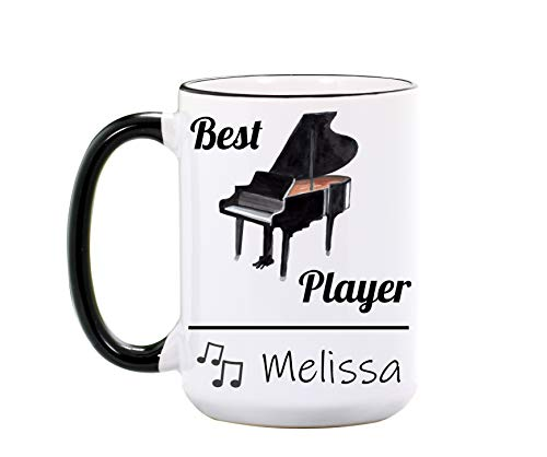 Piano Mug - Personalized Large 15 oz or 11 oz Ceramic Cup - Music Mugs - Music Teacher Gifts for Teacher - Piano Gift - Dishwasher & Microwave Safe - Made In USA