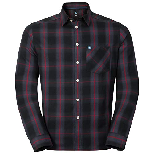 Odlo Herren Logger Hemd, Ombre Blue - Jester red Check, XXL