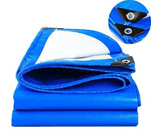 SOVIYAS Lona de alta resistencia Lona reforzada Ojales gruesos 4m x 6m 13ft x19ft (4x6m,150g/m²) Lona de PE Lona azul impermeable Hoja de cubierta de calidad superior Lona para acampar al aire libre