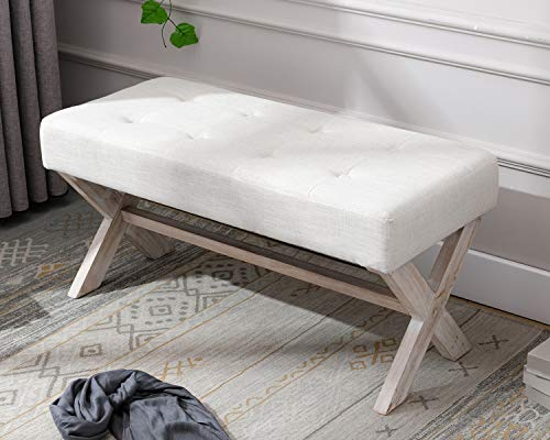 chairus Fabric Upholstered Entryway Bench Seat, 36 inch Bedroom Bench Seat with X-Shaped Wood Legs...