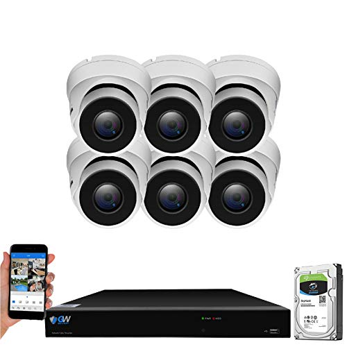 GW Security Smart AI 8 Channel H.265 PoE NVR Ultra-HD 4K (3840x2160) Security Camera System with 6 x 4K (8MP) IP Dome Camera, 100ft Night Vision, Waterproof Surveillance Camera (VD8CH8536IP6C)