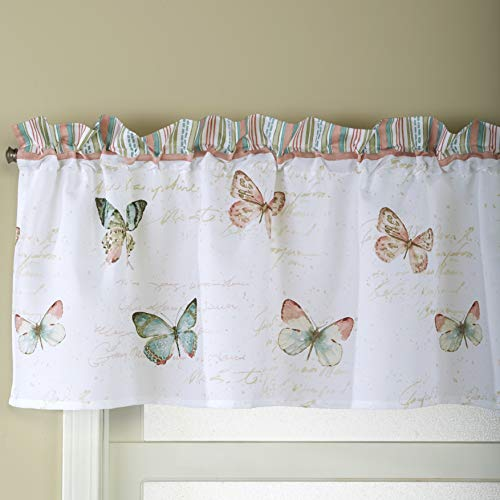The Lakeside Collection Country Butterflies Bathroom Window Valance with Rod Pocket