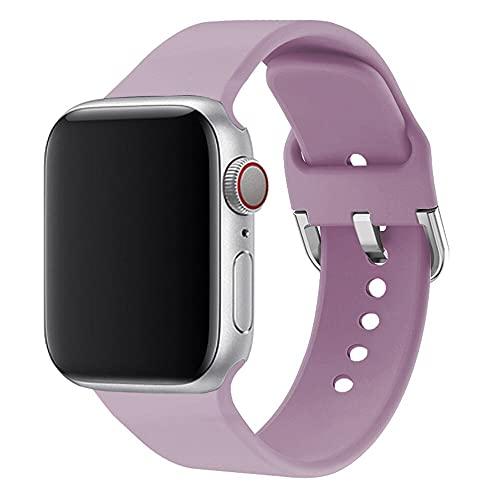Hspcam Correa de silicona para Apple Watch de 38 mm, 42 mm, correa de reloj de pulsera deportiva, 44 mm, 40 mm, para iwatch Series 6, 5, 4, 3, 2 1 (42 mm o 44 mm, lavanda)