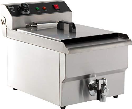 Combisteel Gastro Friteuse (8 L, 3300 W, 230 V, Thermostat 60–200 °C, Ablasshahn, Edelstahl, inkl. Korb und Deckel)