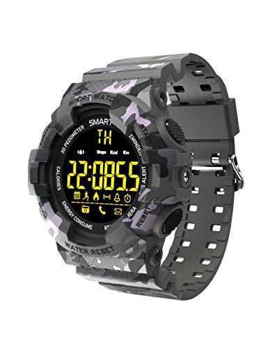 YJKLB Intelligente Uhr Smart Watch Sport Camouflage Armband Fernbedienung Fitness Armband Bluetooth Schrittzähler Stoppuhr Herren Smartwatch, Camouflage Grau