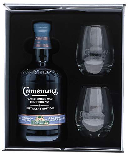 Connemara Irish Peated Malt Distillers Edition mit Geschenkverpackung mit 2 Gläsern Whisky (1 x 0.7 l)