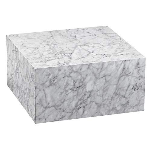 FineBuy Couchtisch MONOBLOC 60x30x60 cm Hochglanz mit Marmor Optik Weiß   Design Wohnzimmertisch Cube Quadratisch   Lounge Beistelltisch Würfel Form