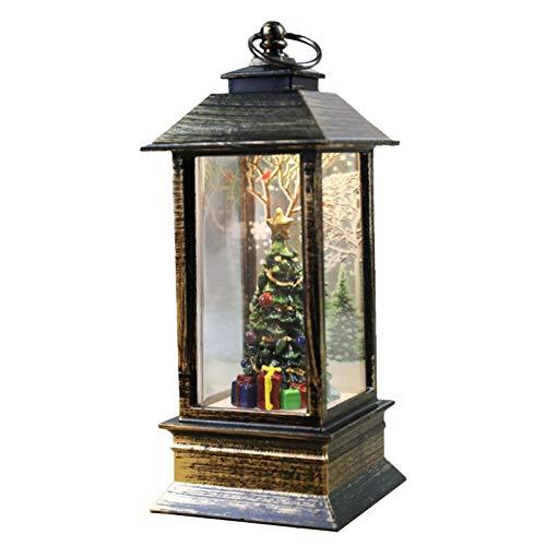 Linternas de Navidad Decorativas, Decorativas Agua de Navidad Brillante Remolino de nieve Globo Linterna Portavelas LED Encantadora impresión creativa Ideal para fiestas Jardín Patio Decoración