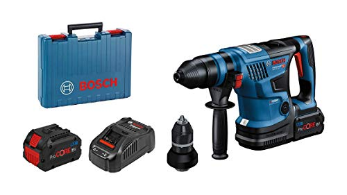 Bosch Professional BITURBO GBH 18V-34 CF cordless rotary hammer (w. SDS plus quick-change chuck, 5.8 J, incl. Bluetooth module, 2 x 5,5 Ah ProCORE18V batteries, GAL 1880 CV charger, in carrying case)