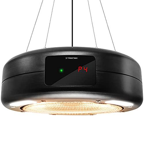 TROTEC Calefactor de techo de diseño IR 1550 SC, infrarrojos, fijación al techo, 3 ajustes de calor: 600 W / 900 W / 1.500 W, Habitaciones hasta 10 m², Negro mate
