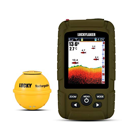LUCKY Portable Sonar Fish Finder Boat Depth Fishing Fish Finders Waterproof Handheld Wireless Fishing Finder Kayak Transducer Depth Finders for Ice Fishing Sea