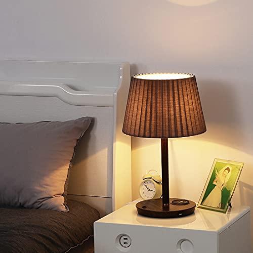 LANMOU E27 Lámpara de Cabecera de Madera con Puerto USB, Lámpara de Mesa LED de Salón con Cargador Inalámbrico y Interruptor, Pantalla de Tela Plisada, 3 Temperaturas de Color,Walnut/blue shade