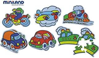Miniland Silhouettes Puzzle 6 Means Of Transports,Multi Color,35230