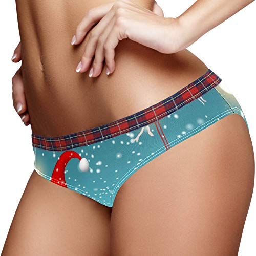 Bennigiry Tomtar in Schweden Tonttu in finnischer Weihnachtsbeleuchtung und hängendes rotes Herz elastische Höschen Unterhose Unterwäsche weiche Baumwolle Damen Slip, S Gr. 3-4Jahre, multi