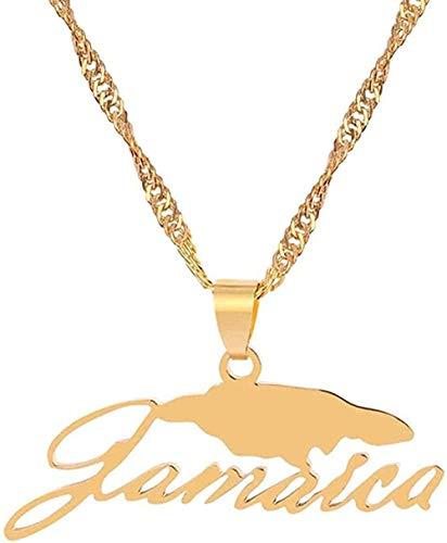 banbeitaotao Collar al por Mayor Mapa de Jamaica y Nombre del país Collares Pendientes Color Dorado Joyería del país de Jamaica I Love Jamaica Party Gifts Collar