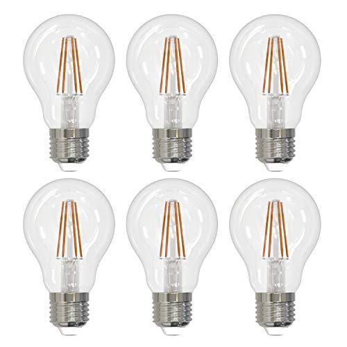 Umi by Amazon - Bombilla LED A60 con casquillo Edison E27, 4 W (equivalente a 40 W), 15 000 horas, con filamento de cristal transparente, blanco cálido (2700 K) (paquete de 6)