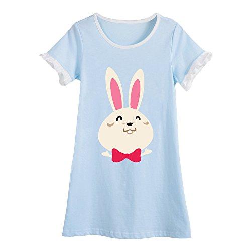 Hase Nachthemden für Mädchen Kinder Kurzarm Sommer Schlafanzüge Tierdruck Blau 9 Jahre