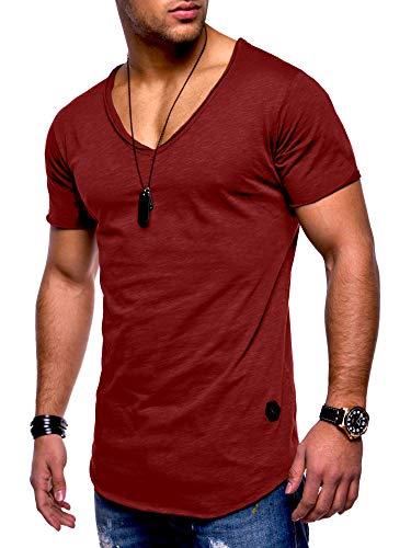 Rello & Reese Herren T-Shirt Kurzarm Basic Oversize V-Neck MT-7102 [Bordeaux, XXXL]