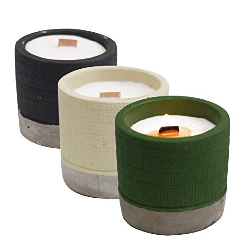 WoodWick Concrete Pot Candles | Gift Bundles of 3 Crackling Soy Wax Candles | Up to 75 Hours Burn Time | Aromatherapy in Brandy Butter, Club Coffee, Herbs & Sea Moss