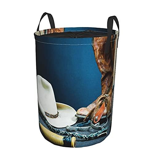 Cesta de almacenamiento, botas de vaquero, herradura, látigo, espuelas y sombrero en madera, cesto de lavandería grande plegable con asas 21.6