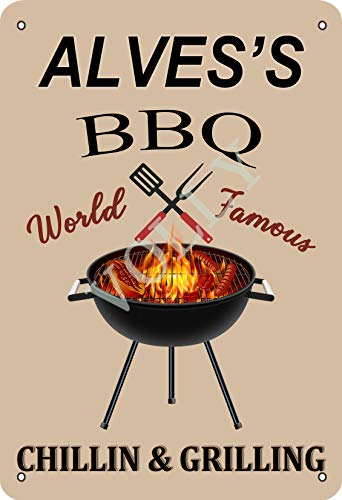Volly Alves'S BBQ World Famous Chillin And Grilling Retro Fun Art Fashion Metal Wall Decor Tin Sign Suitable For Kitchen Bar Cafe Decoration