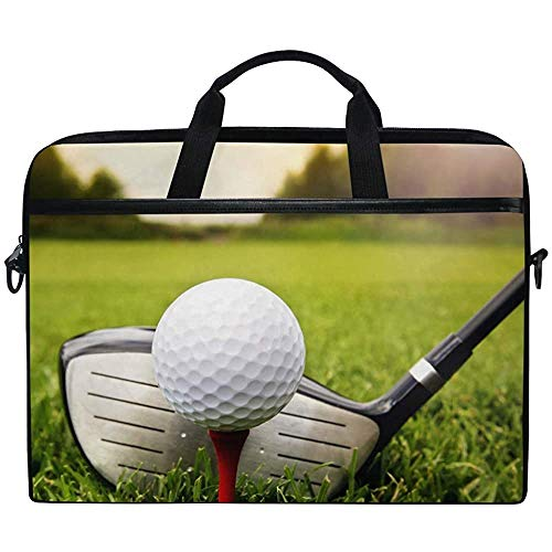 Laptop Hülle,Sport Golfball In Gras Aktentasche Messenger Notebook Computertasche Mit Schultergurtgriff,14-14,5 Zoll