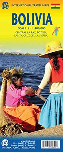 Bolivia 1:1 400 000: Central La Paz, Potosi, Santa Cruz de la Sierra. Touristische Karte Bolivien