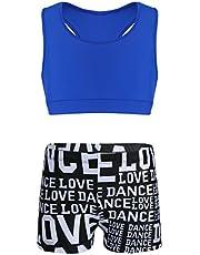 Alvivi Conjuntos Deportivos Niñas Camiseta Manga Corta Leggings Elásticos Crop Top Danza Gimnasia Pantalónes Ajustados Cortos Traje Fitness de Gym Yoga Correr