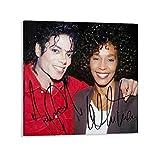 BVNGF Michael Jackson & Whitney Houston Poster sur toile avec autographe 40 x 40 cm