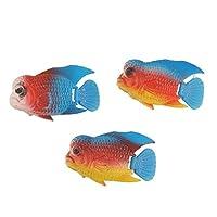uxcell アクアリウムフローティングフィッシュ 水族館浮動魚 水族館ウィグリーテール 水槽内装 ブルー イエロー 3尾入り