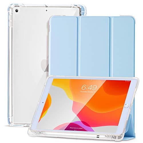 SIWENGDE Hülle für iPad 8.Generation 2020/7.Generation 2019,Schlankes weiches TPU Durchscheinend Mattiert Zurück Schutz hülle für iPad 10,2 Zoll mit Stifthalter,Auto Wake/Sleep (Weißes EIS)