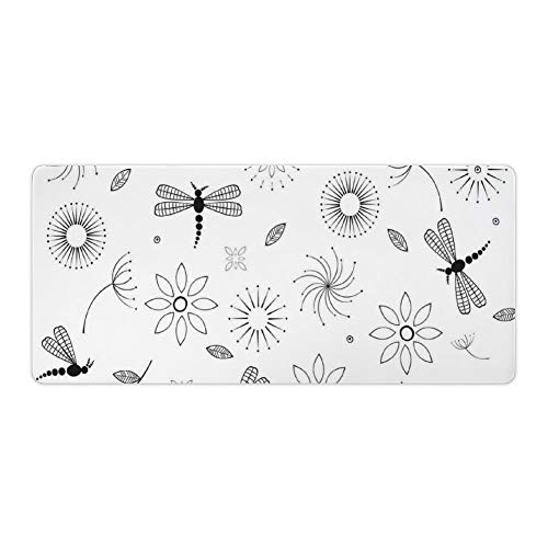 Extended Gaming Mouse Pad with Stitched Edges Waterproof Large Keyboard Mat Non-Slip Rubber Base Bohem Inspired Flying Butterfly Like Bugs Flowers Delion Desk Pad for Gamer Office Home 16x35 Inch