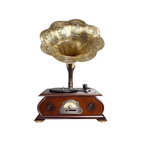 Big Shark Phonograph Bluetooth draaitafel, bibliotheek, wijnoogst-platenspeler met koperen hoorn, ingebouwde onafhankelijke subwoofer/FM-radio voor thuis, kantoor