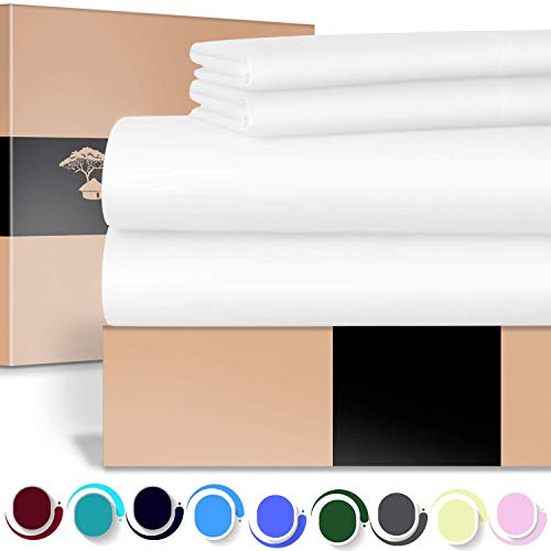 URBANHUT Egyptian Cotton Sheets Set - 700 Thread Count 100% Cotton Bed Sheets Queen (4 Piece), Luxury Queen Size Sheets, Deep Pocket, Soft & Silky Sateen Weave (White)