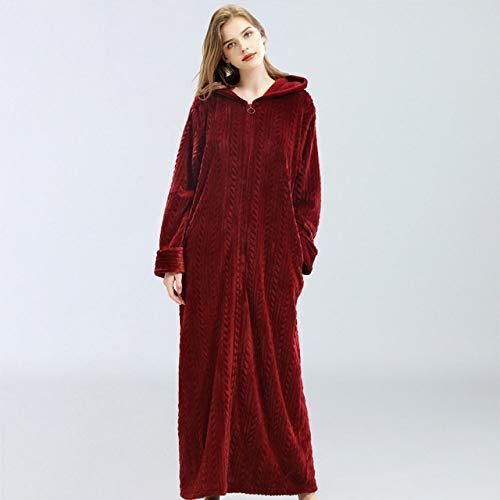 DPKDBN damesjas, winterflanel ritssluiting vrouwen badjas paar thuis kleding solide lange mouwen koraal fluweel met capuchon robe voor dames