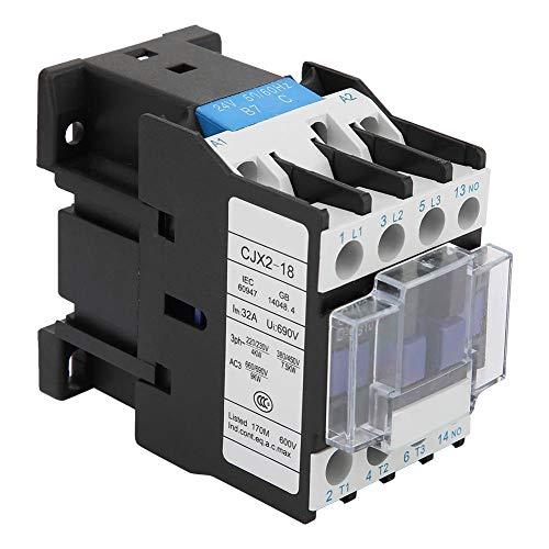 Contactor de AC Interruptor de aire Acondicionador eléctrico industrial Protección contra fugas DIN Montaje en riel CJX2-1810 24V DC / 36V DC / 48V DC / 110V AC / 380V AC 18A(24VDC)