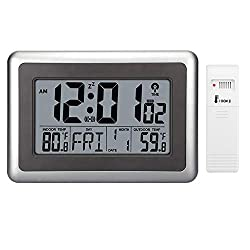 Forestime Digital Atomic Wall Clock, Desk Alarm Clock, Battery Operated with Wireless Sensor 300 ft / 100 Meter Range, Large LCD Display, Indoor/Outdoor Temperature, Table Standing Without Backlight