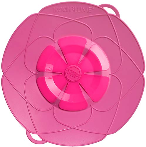 Kochblume vom Erfinder Armin Harecker M 25,5 cm pink | Überkochschutz für Topfgrößen von Ø 14 bis 20 cm | Set mit Microfasertuch!