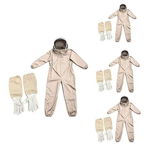 Faderr Traje antiabejas con guante, traje de apicultor de algodón natural con velo de valla, traje de apicultor protector con guantes de capucha de velo, traje de granja unisex para jardín (talla XXL)