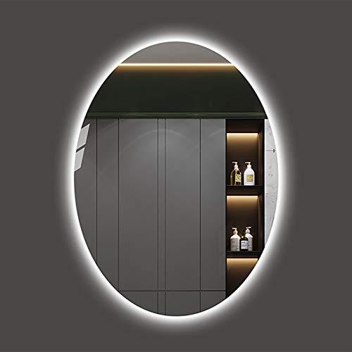 Espejo Retroiluminado LED para Baño Ovalado, Espejo De Maquillaje Iluminado Espejo de Vanidad Espejo de Pared con Luces