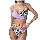 Bañadores de Estampado de Leopardo/Serpiente,Ropa de Baño con Relleno Retirable,Traje de Baño con Correas Ajustables,Conjunto de Bikinis de Playa Modas,Bikini Atractivo de Dos Piezas
