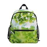 Green Leaves Summer School Backpack for Girls Kids Elementary School Bag Mini Backpacks